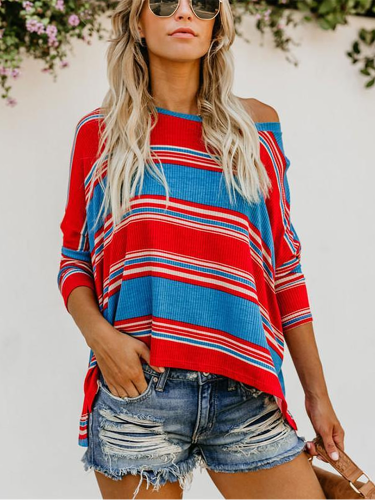 Sexy Round Collared Striped Print Blouse