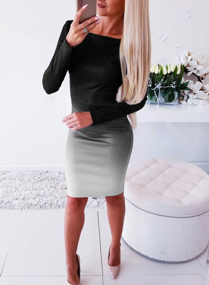 Womens Elegant Stretch Bodycon Gradient Dresses