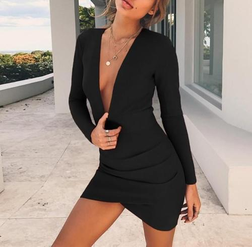 Sexy Deep V Neck Backless Pure Color Bodycon Dress