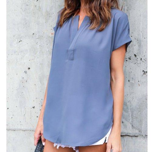 Short Sleeves V-neck Pure Color Chiffon Blouse