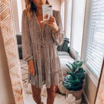 Pleated Ruched Polka Dot Mini Dress