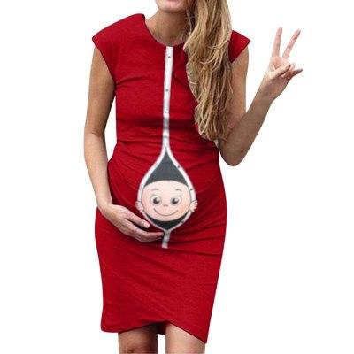 2020 Fashion clothes for pregnant Women's maternity dress Pregnanty Sleeveless Summer Cartoon Baby born Print Pregnants Dress