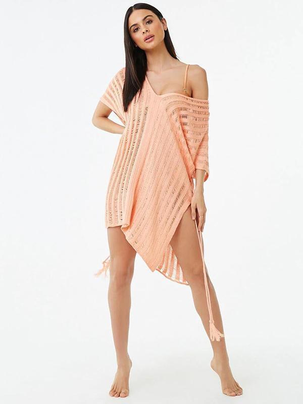 Sexy Hollow Split-side Cover-ups Swimwear