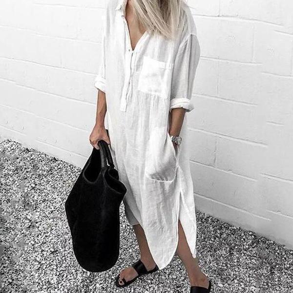 V-Neck Casual Long Sleeve Cotton-Blend Dress