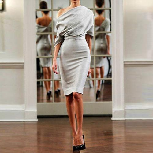 Stylish Solid Color One-Shoulder Bodycon Dress