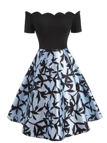 1950s Off Shoulder Leaves Dress
