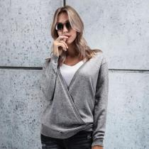 Casual Fashion Loose Plain Deep V Collar Long Sleeve Sweaters
