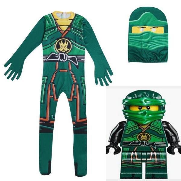 Kids Ninja Costume Toddler Boys Halloween Bodysuit Outfit Green Black