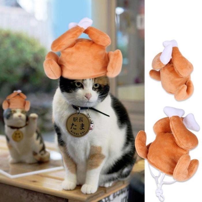 Cat Chicken Leg Cap Pet Kitten Cosplay Costumes Hat Christmas Holiday Cute Decor