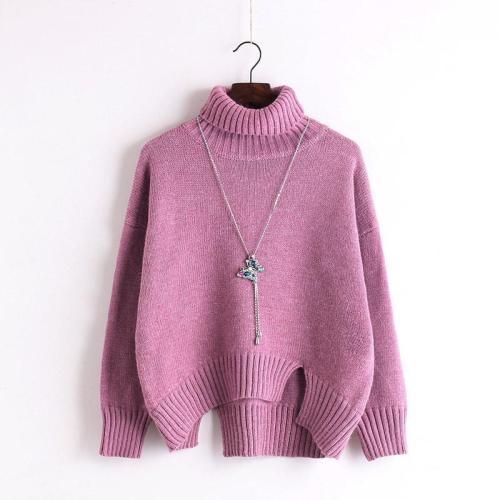 High Neck Solid Knit Pullover Short Split Sweater