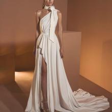 Sexy Halter Dress Wrapped Hip Evening Dress