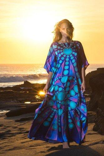 Beach Dress, Cover Up, Kaftan Dress, Blue Ocean