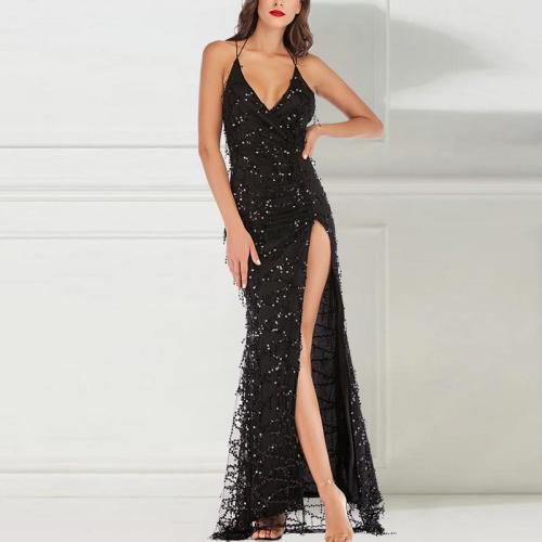Fringed Suspender Evening Dress