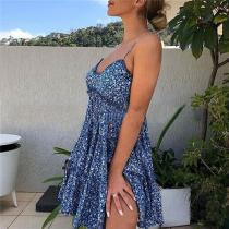 Fashion Sling Printing Mini Dresses