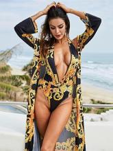 Knot Plunge One-Piece Swimsuit And Cover-Up Suits