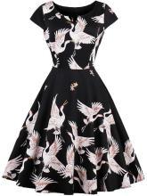 EBUYTIDE Women's Sleeveless V-Neck Big Swing Party Dress