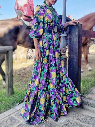 Fashion Printed Colour  Pleated Short Sleeve  Dress