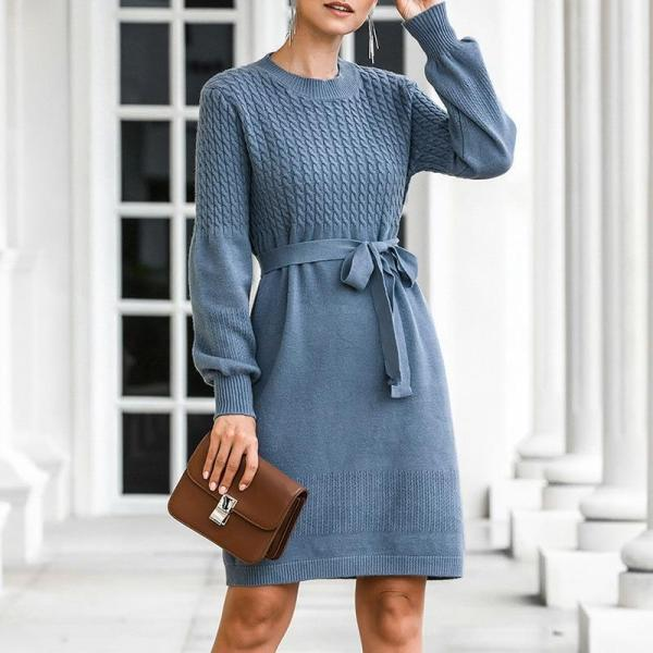 EBUYTIDE Elegant high waist knitted dress women Office ladies autumn winter belt sweater dress female Soft bodycon midi dress