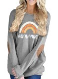 Womens Loose Crew Neck Batwing Sleeve Patches Blouse Top T-Shirts