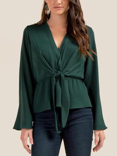V-neck Bandage Solid Ruffled Shirt Top