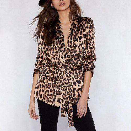 Fashion Deep V-Neck Leopard Print Belted Blouse