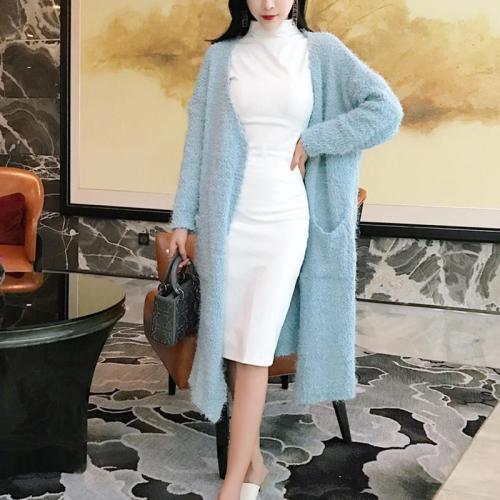 Fashion Mink Villi Pure Colour Warm Cardigan Coat