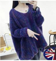 Colorful Bat Sleeve Cloak Sweater