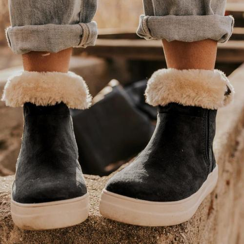 Solid Color Side Zipper Round Toe Boots