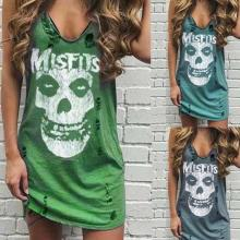 2020 Summer Skull Print Casual Women Dress Punk Sleeveless Hole High Street Female Mujer Femme Vestidos Plus Size 5XL