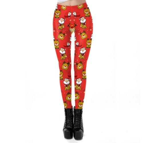 Cute Reindeer Santa Claus Print Women Christmas Party Skinny Leggings