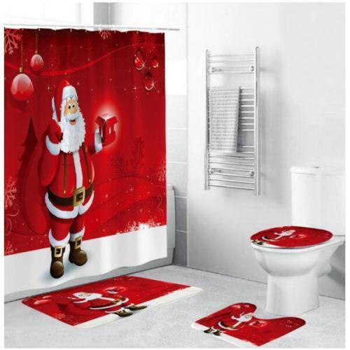 Christmas Shower Curtains for Bathroom Funny Christmas Decorations Bathroom Set
