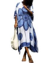 Printed Loose Kaftan Cover-up Dress