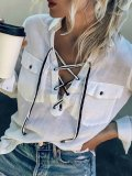 Commuting Patch Pocket Long Sleeve Belted Pure Colour Blouse