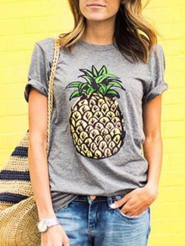 Round Neck Pineapple Printed T-Shirts