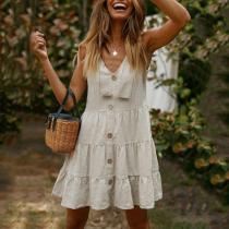 Casual Button Linen Stitching Dress