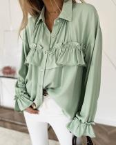 Ruffle Detail Button Down Blouse