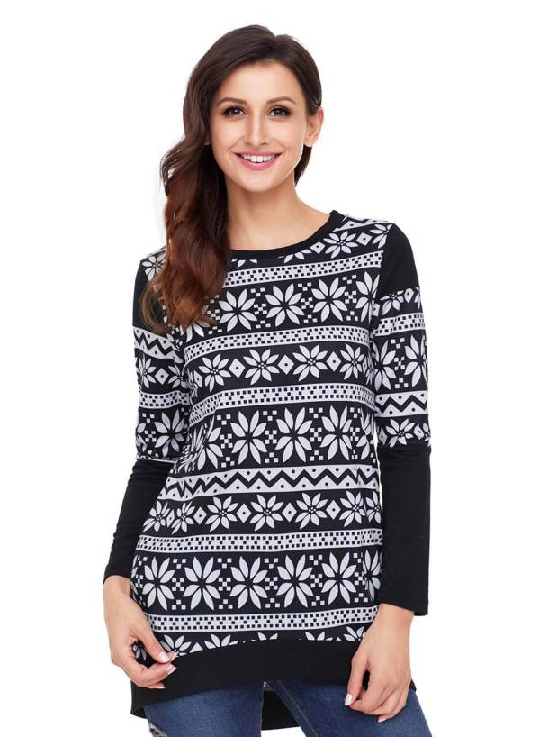 Snowflake Print Long Sleeve Christmas Top