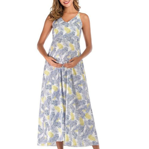 Summer New Fashion Womens Pregnant Deep V-Neck Foral Print Sash Maternity Long Dress