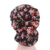 Women Floral Print Muslim Scarf Cap Long Tail Cotton Turban Hijabs Hat Adjustable Elastic Cloth Hair Bands Hair Accessories Wrap