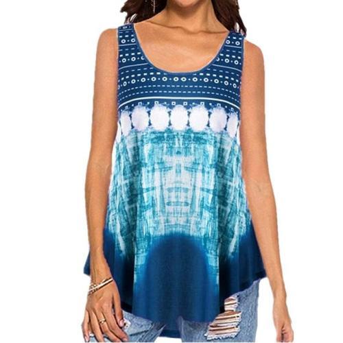 Women Printed Fashion Casual Summer Sleeveless T-shirt Tops