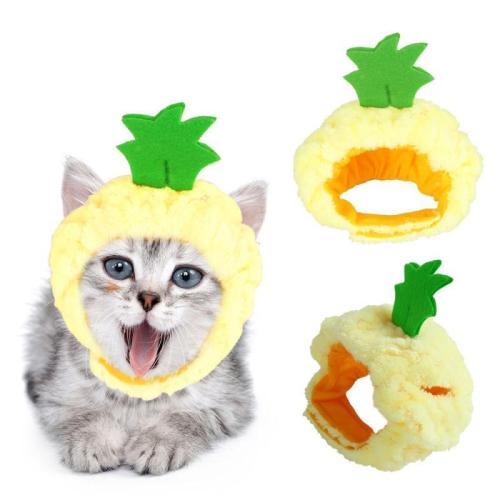 Dog Cat Headgear Cute Shapes Hat Pet Apple Pineapple Cat Plush Hood Cosplay Costume Decoration For Halloween TXTB1