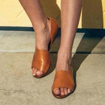 Casual Slip On Open Toe Low Heel Sandals