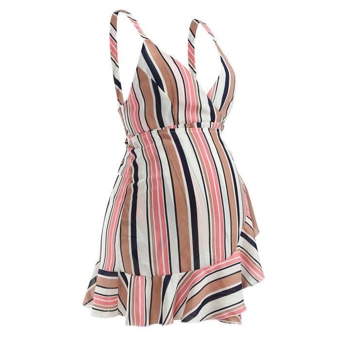 Dress Maternity Dresses Summer  Clothes For Pregnant Women Women Pregnant Sleeveless Pregnant Maternity Stripe Sexy Print Dress