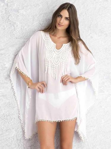 3/4 Sleeve Print Bohemia Mini Beach Dress