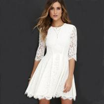 Pure Color Lace Scoop Half Sleeves Short Dress