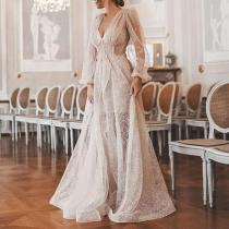 Sexy Deep V Long Sleeve Mesh Evening Dress