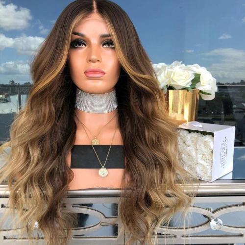 Fashion Gradient Big Wave Long Curly Hair Wig