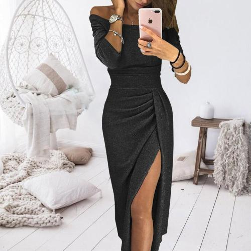 Sexy Seven-tenths Sleeves Cold Shoulder Bodycon Dress