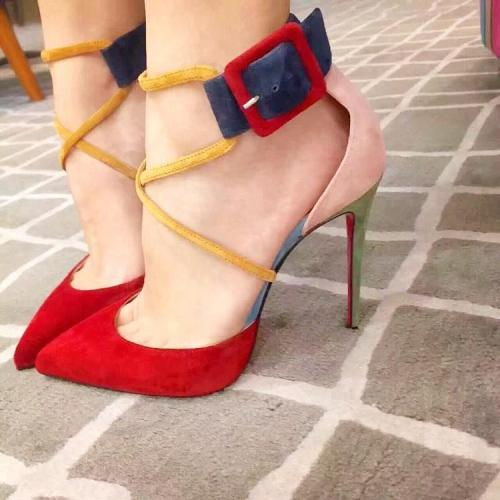 Colorful Hasp Straps Cross Pointed Toe High Stiletto Heels