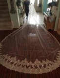 5 Meters Neat Sparkle Sequins Lace Edge 2T Wedding Veil with Comb 5M Long Luxury 2 Layers Bridal Veil